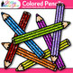 Colored Pencil Clip Art {Rainbow Glitter Back to School Su