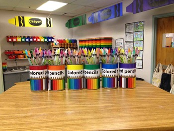 Colored Pencils Labeling Cards for Bins or Labels & Classr
