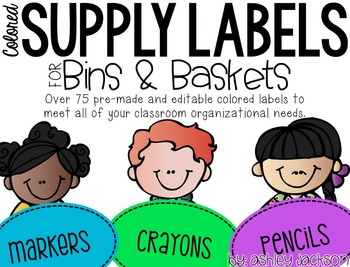 Colored Supply Labels for Bins & Baskets
