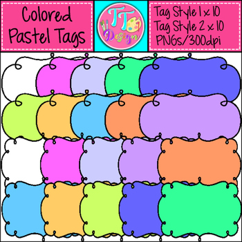 Colored Tags/Labels Frames Clip Art CU OK