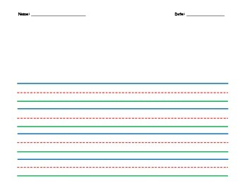 Colored, Wide Lined Writing Paper