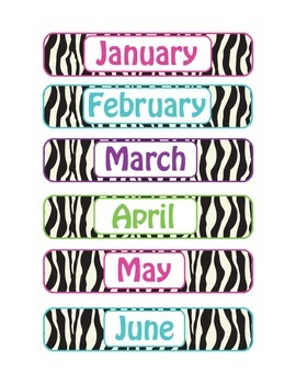 Colored Zebra Print Months of the Year