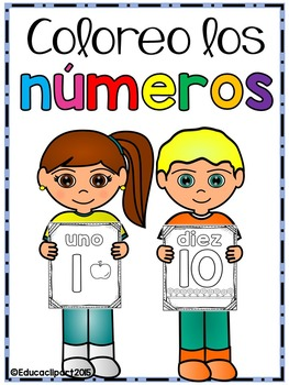 Coloreo los números - Spanish numbers coloring pages