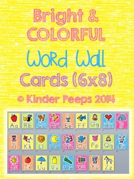 Colorful Alphabet Cards for Word Wall (6 x 8)