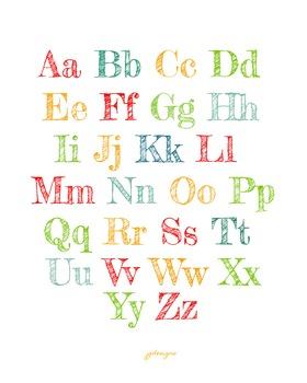 Colorful Alphabet for Classroom 16x20