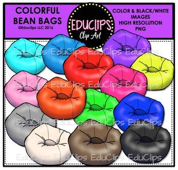 Colorful Bean Bags Clip Art Bundle