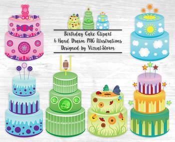 Colorful Birthday Cake Clip Art, 6 Hand Drawn Birthday Cak