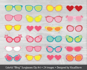 Sunglasses Clip Art, 24 Colorful Summer Beach Bling Glasse