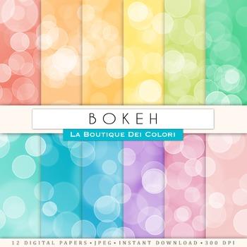 Colorful Bokeh Digital Paper, scrapbook backgrounds