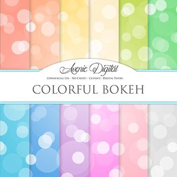 Colorful Bokeh Digital Paper spotty sparkle light circles