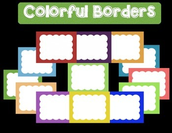 "Colorful Borders + Frames Clipart- ""Big Clouds"" -For Perso"