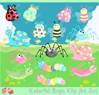 Colorful Bugs Clipart Set