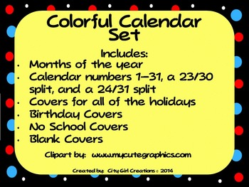 Colorful Calendar Set--Months, Numbers, & Holiday Covers