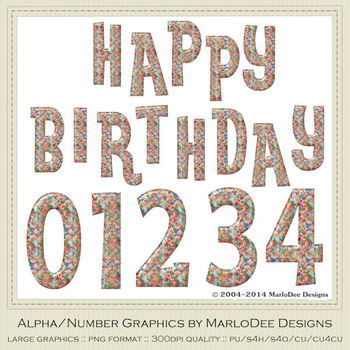 Colorful Candy Sprinkles Birthday Numbers & Happy Birthday