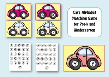 Colorful Cars Alphabet Matching Game for Pre-k and Kindergarten