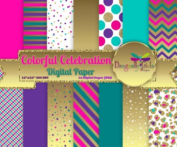 Colorful Celebration digital paper, commercial use, scrapb