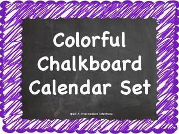 Colorful Chalkboard Calendar Set