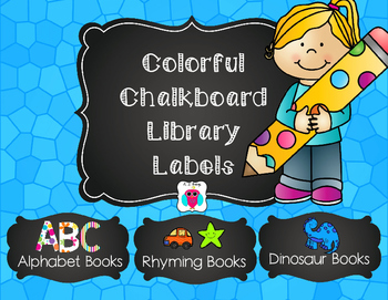 Colorful Chalkboard Class Library Labels