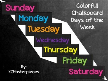 Colorful Chalkboard Days of the Week Signs