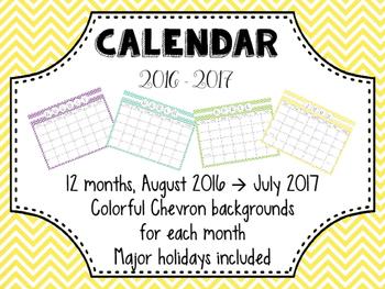 Colorful Chevron Calendar!