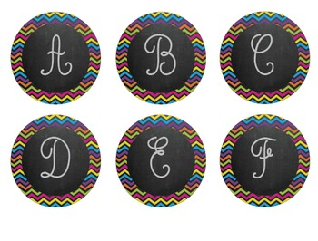 Colorful Chevron Chalkboard Word Wall Letters!