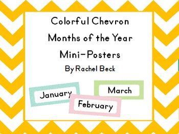 Colorful Chevron Months of the Year Posters