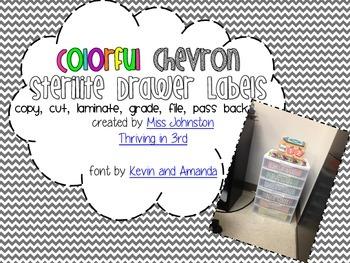 Colorful Chevron Sterilite Drawer Labels
