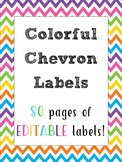 Colorful Chevrons Classroom Labels