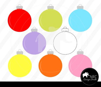 Colorful Christmas Ornaments Clip Art for Personal and Com