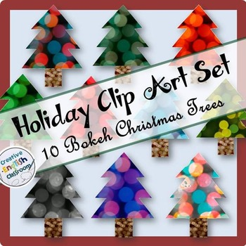 Christmas Tree Clip Art -- 10 Colorful Bokeh Designs