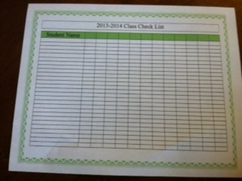 Colorful Classroom Check list