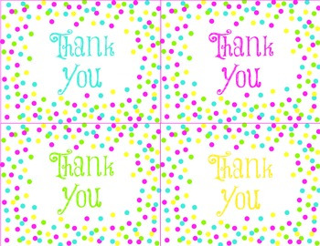 Colorful Confetti Thank You Cards