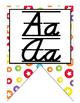 Colorful D'Nealian manuscript and cursive Alphabet banner