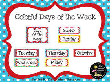Colorful Days of the Week Posters