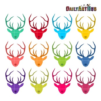 Colorful Deer Heads Clip Art - Great for Art Class Projects!