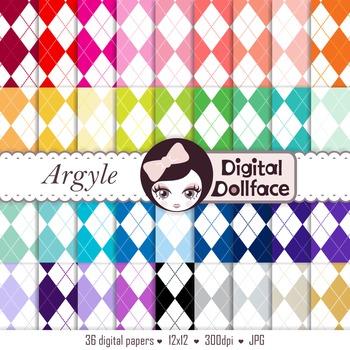 Colorful Digital Paper - Argyle Backgrounds