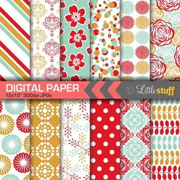 Colorful Digital Paper, Floral & Geometric