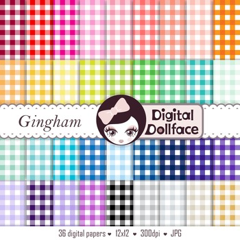 Colorful Digital Paper - Gingham