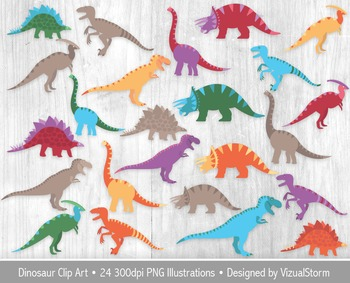Colorful Dinosaur Clip Art For Kids, 24 Illustrations, Inc