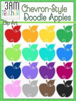 Colorful Doodle Apples Clip Art: Chevron Style