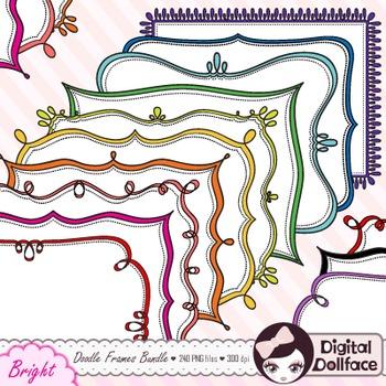 Colorful Doodle Frames Bundle / Page Borders