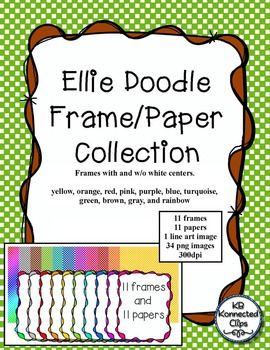 Colorful Doodle Frames with Checked Papers - The Ellie Collection