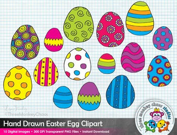 Colorful Easter Egg Clipart | Spring Clip Art | Hand Drawn