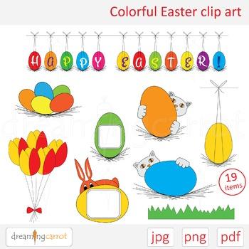 Colorful Easter clip art. Labels, rabbit, cat, egg, banner