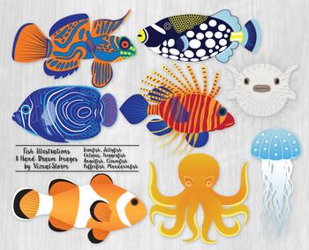 Fish Clip Art, 8 Beautiful and Colorful Hand Drawn Sealife