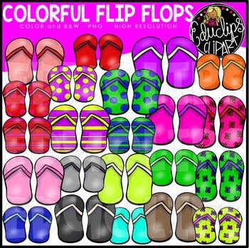 Colorful Flip Flops Clip Art Bundle