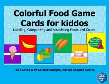 Colorful Food Game Cards For Kiddos