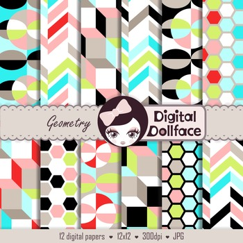 Colorful Geometry Patterns / Geometric Digital Paper Backgrounds