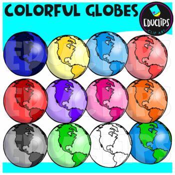 Colorful Globes Clip Art Bundle