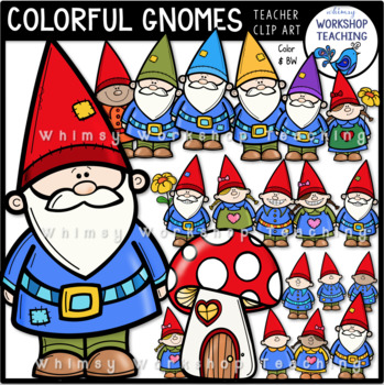 Colorful Gnomes Clip Art - Whimsy Workshop Teaching